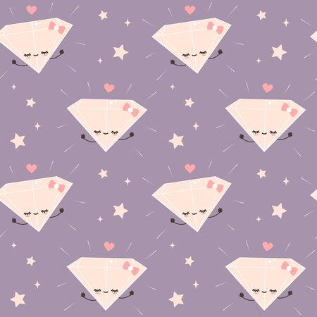 cute cartoon character diamonds and stars romantic seamless vector pattern background illustration Stock Illustratie