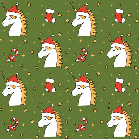 cute cartoon christmas unicorn with santa claus hat seamless vector pattern background illustration with holidays elements Stock Illustratie