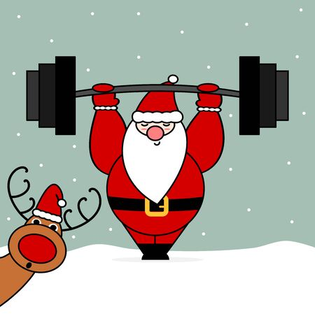 cute cartoon christmas character santa claus with barbell funny cartoon vector illustration with reindeer Stock Illustratie