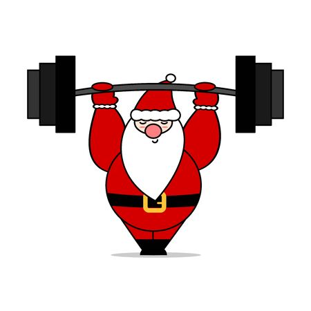 cute cartoon christmas character santa claus with barbell funny vector holidays illustration