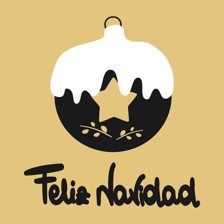 cute black christmas ball with lettering drawn feliz navidad text holidays vector greeting card on gold background Stock Illustratie