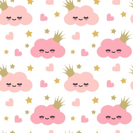 cute lovely cartoon pink clouds seamless pattern with hearts and gold stars Stock Illustratie