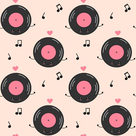 cute cartoon character vinyl record seamless vector pattern background illustration with music notes Stock Illustratie