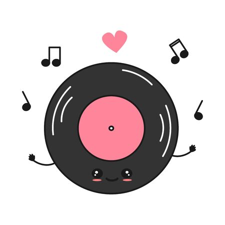 cute cartoon character vinyl record vector illustration with music notes Vettoriali