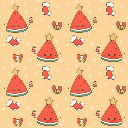 cute cartoon character christmas watermelon slice with candy cane and star on top seamless vector holiday pattern background Stock Illustratie
