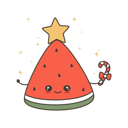 cute cartoon character christmas watermelon slice with candy cane and star on top vector holiday card