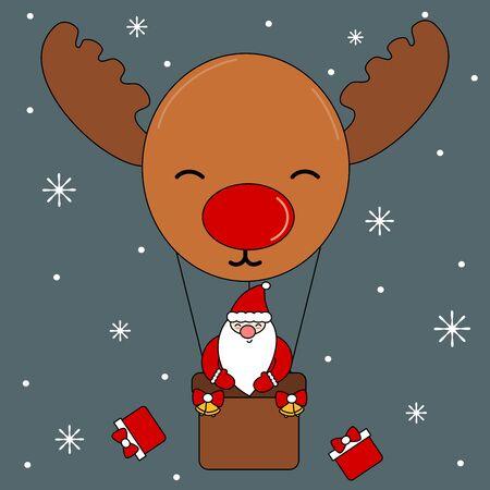 cute cartoon christmas vector illustration with Santa Claus flying in a reindeer hot air balloon