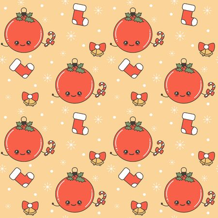 cute cartoon christmas ball seamless vector pattern background illustration with holidays elements