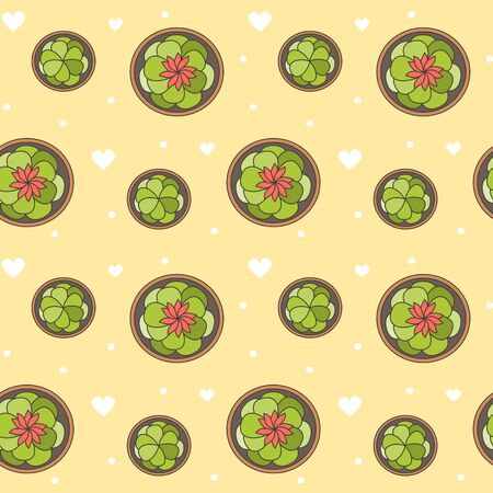 cute cartoon seamless vector pattern background illustration with top view succulents in pot