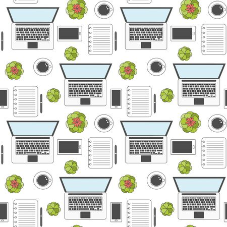 cute cartoon seamless vector pattern background illustration with top view desktop, coffee cups, plants and work and business elements