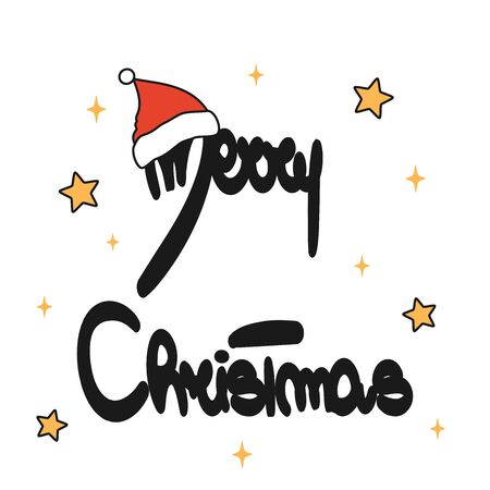 cute merry christmas hand drawn lettering with santa claus hat vector card illustration