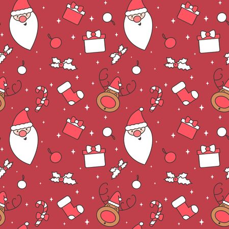 cute cartoon christmas characters and decorative elements seamless vector pattern background illustration