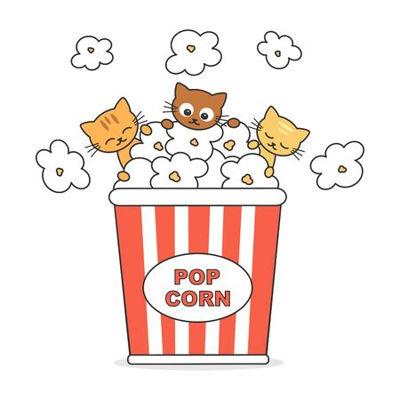 cute cartoon popcorn box with funny cats vector illustration isolated on white background Stock Illustratie