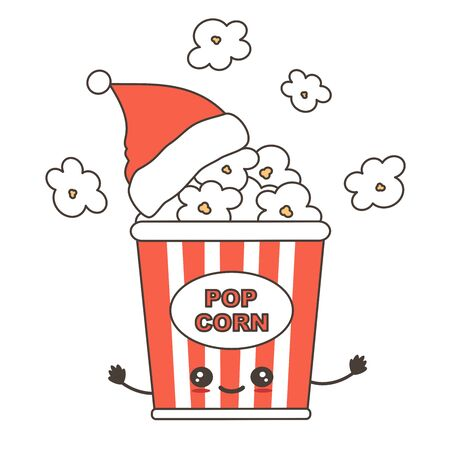 cute cartoon christmas character popcorn box with santa claus holidays vector illustration isolated on white background