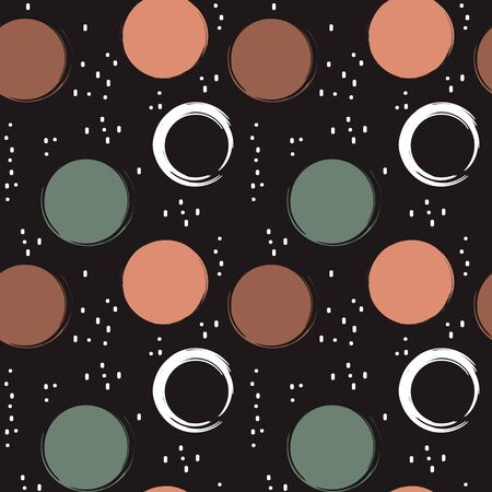 modern seamless vector pattern background illustration with colorful grunge circles and abstract elements Stock Illustratie