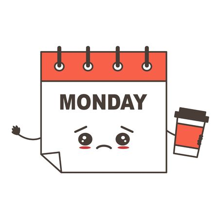 cute cartoon sad calendar character on Monday with coffee funny vector illustration