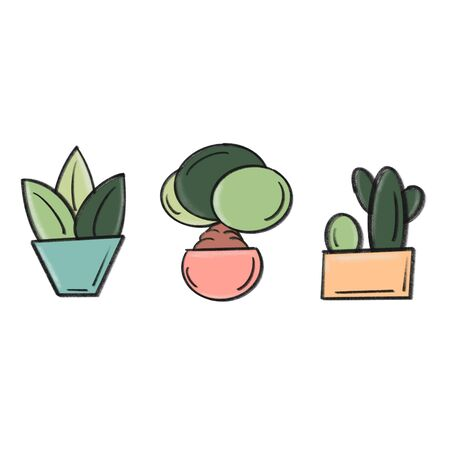 cute hand drawn potted plants set Stockfoto