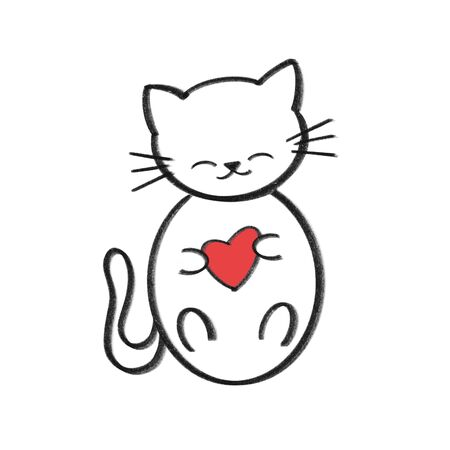 cute cartoon hand drawn black and white cat holding red heart
