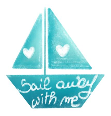 gradient colorful boat with cute hand drawn lettering sail with me text