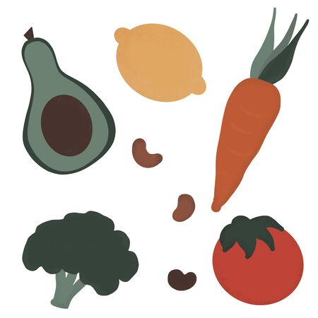 clip art set with hand drawn vegetables Stock Photo