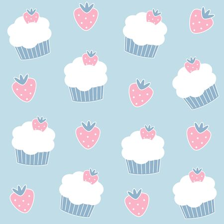 Cute lovely cartoon seamless vector pattern background illustration with cupcakes and strawberries Illusztráció