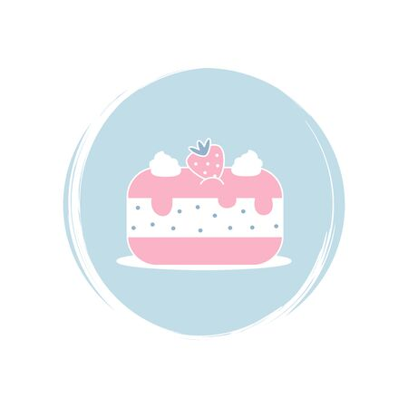 Strawberry cake icon logo vector illustration on circle with brush texture for social media story highlight Illusztráció