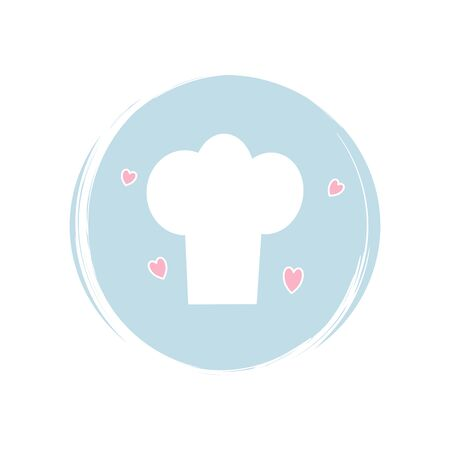 Chef hat icon logo vector illustration on circle with brush texture for social media story highlight Illusztráció