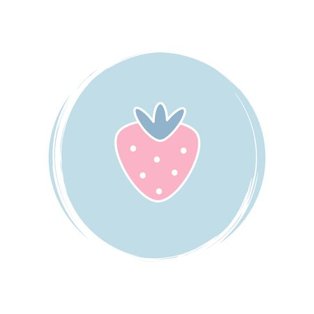 Strawberry icon logo vector illustration on circle with brush texture for social media story highlight