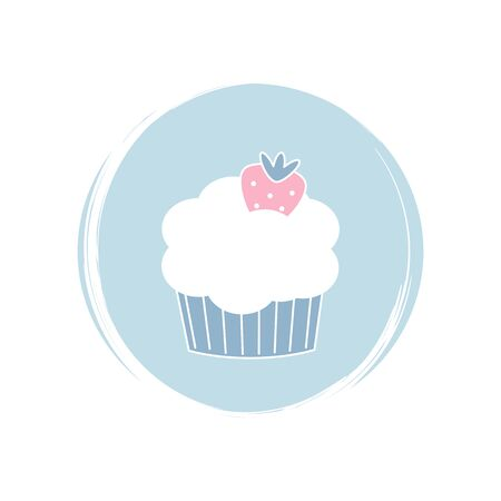Strawberry cupcake icon logo vector illustration on circle with brush texture for social media story highlight