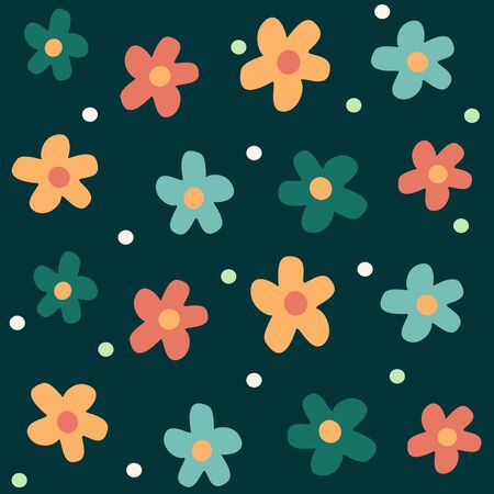 Cute colorful daisy flowers seamless vector pattern background illustration Illustration