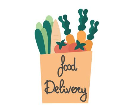 Food delivery service concept vector illustration with paper bag