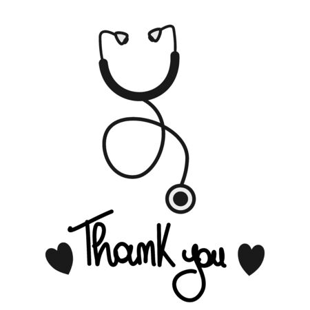Thank you hand drawn lettering COVID-19 pandemic with stethoscope concept vector illustration