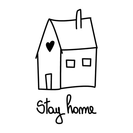 Stay at home cute hand drawn lettering logo vector illustration Illustration