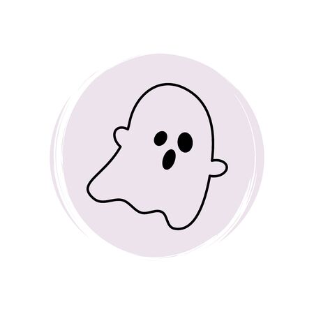 Cute halloween icon logo vector illustration on circle with brush texture for social media story highlight with ghost