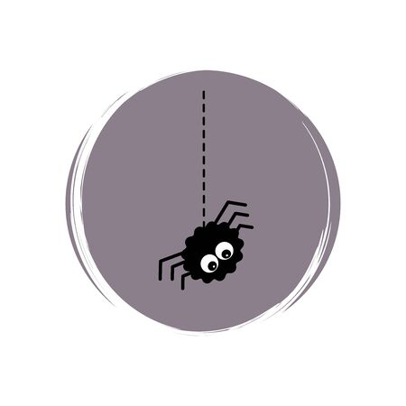 Cute halloween icon logo vector illustration on circle with brush texture for social media story highlight with spider Illusztráció