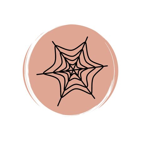 Cute halloween icon logo vector illustration on circle with brush texture for social media story highlight with spider web
