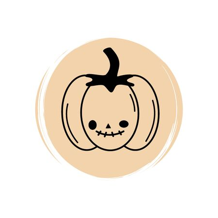 Cute halloween pumpkin icon logo vector illustration on circle with brush texture for social media story highlight