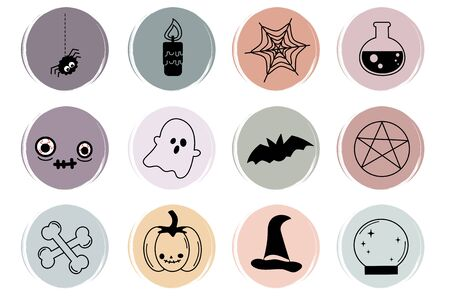 Vector set of flat logo design templates, icons and badges for social media highlight with cute halloween symbols
