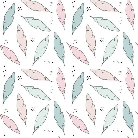 Cute trendy pastel abstract hand drawn seamless vector pattern background illustration with feathers modern design for paper, cover, fabric and interior decor