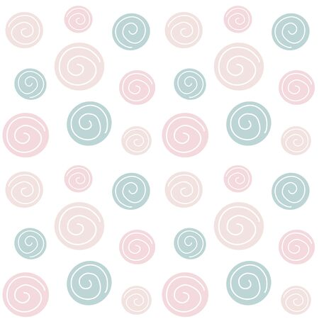 Cute trendy pastel abstract hand drawn seamless vector pattern background illustration with circles modern design for paper, cover, fabric and interior decor Illusztráció