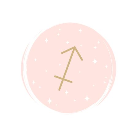 Cute zodiac sagittarius icon logo vector illustration on circle with brush texture for social media story highlight