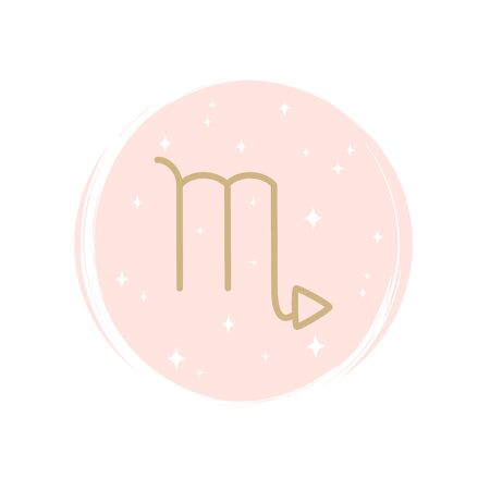 Cute zodiac scorpio icon logo vector illustration on circle with brush texture for social media story highlight