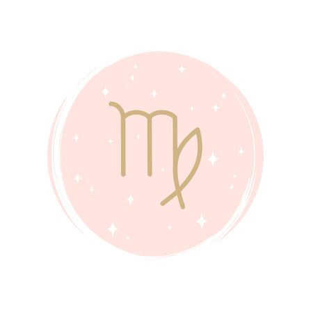 Cute zodiac virgo icon logo vector illustration on circle with brush texture for social media story highlight