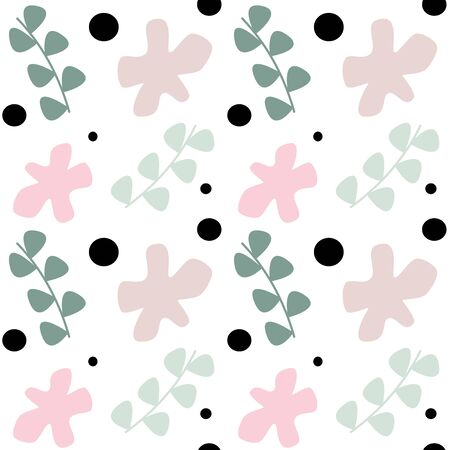 Cute pastel seamless vector pattern background illustration with abstract flowers, geometric shapes and leaves