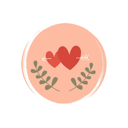 Cute logo or icon vector with hearts shape, arrow and leaves illustration on circle with brush texture, for social media story and highlights