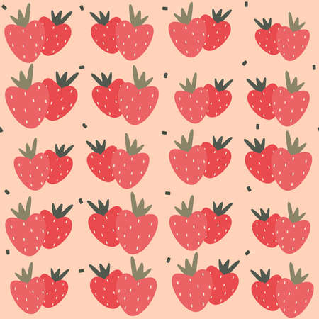 Cute strawberries seamless vector pattern background design illustration