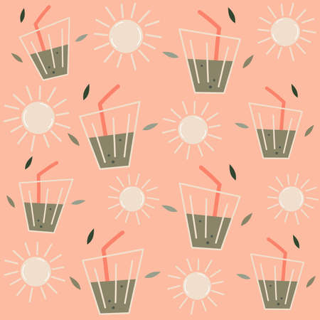 Cute green juice and sun seamless vector pattern background design illustration