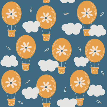 Cute lovely seamless vector pattern background illustration with hot air balloons in the sky with daisy flowers