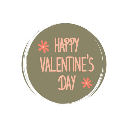 Cute logo or icon vector with happy valentine's day text, illustration on circle with brush texture, for social media story and highlights Ilustração