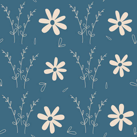 Cute lovely seamless vector pattern background illustration with daisy flowers and romantic branch